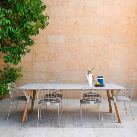 Varaschin Link tavolo da giardino con gambe in legno di teak, H 75 cm
