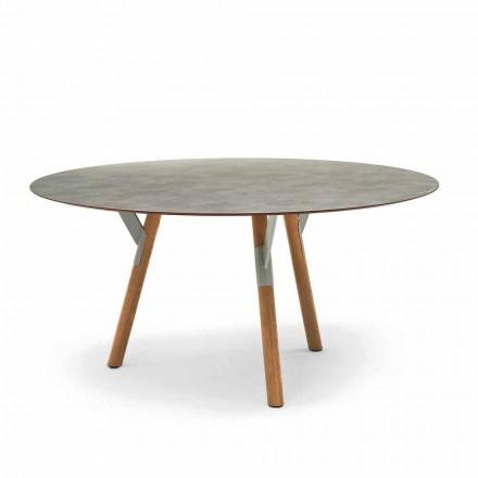 Varaschin Link tavolo tondo da esterno con gambe in teak, H 65cm
