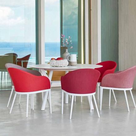 Varaschin Link tavolo tondo da giardino design moderno, H 75 cm