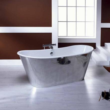 Vasca da bagno freestanding in ghisa placcata alluminio ida for Vasca da bagno freestanding
