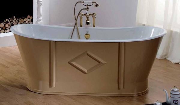 Vasca Bagno Freestanding : Vasca da bagno freestanding in ghisa verniciata e decorata allen