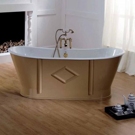 Vasca da bagno vintage freestanding in ghisa verniciata e decorata Allen