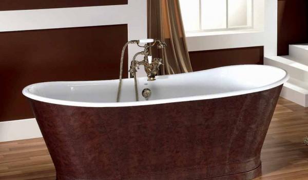 Vasca Da Bagno In Ghisa : Vasca da bagno in ghisa con copertura esterna in cuoio elsie