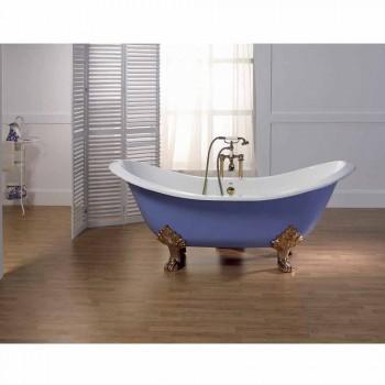 Vasca da bagno in ghisa smaltata e verniciata con piedini Lane