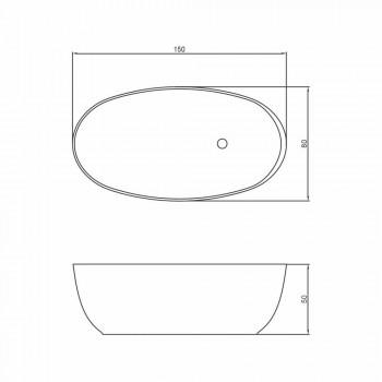 Vasca da bagno ovale freestanding di design fatta in Italia Fabriano
