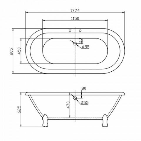 Vasca freestanding in acrilico bianco moderna Sunshine 1774x805 mm
