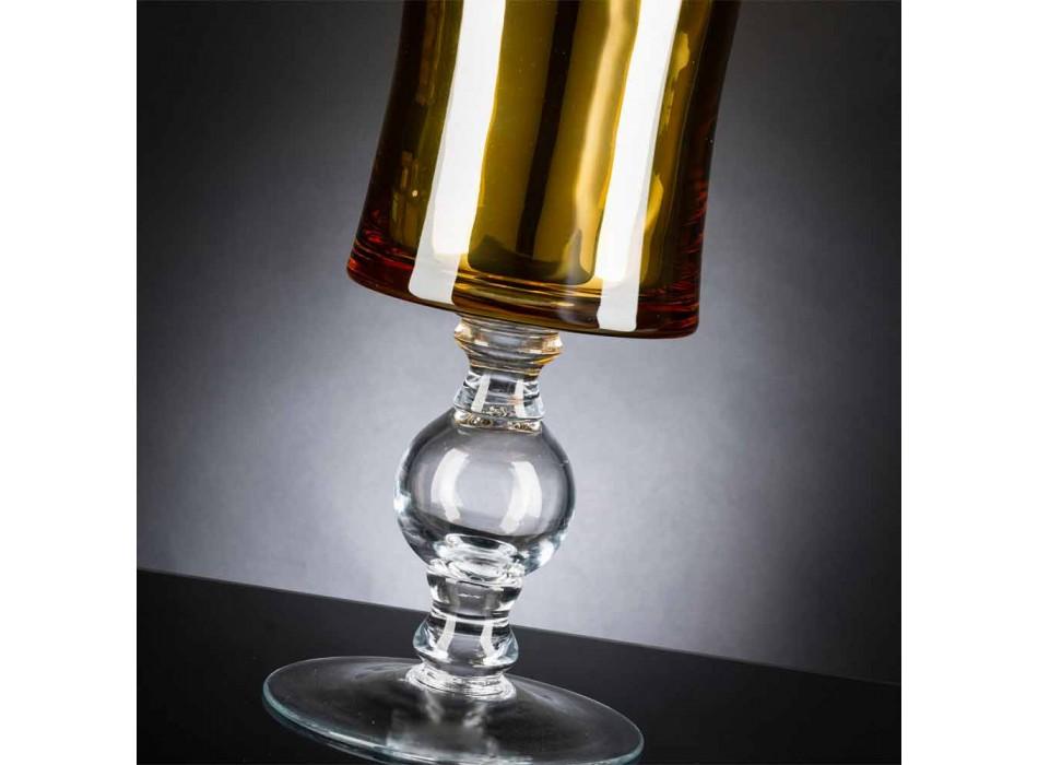 Vaso Artigianale in Vetro Soffiato Bianco o Oro 24k Made in Italy - Canberra