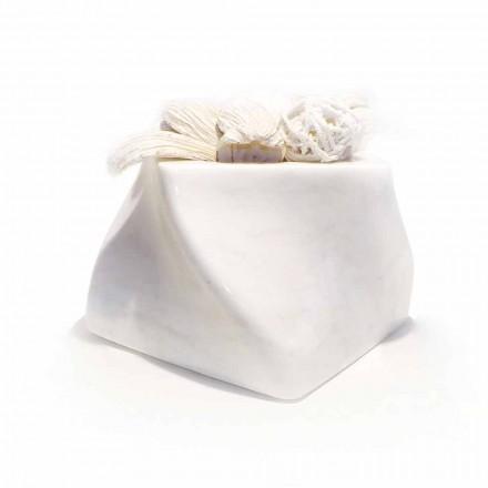 Vaso Decorativo di Design in Marmo Bardiglio o di Carrara Made in Italy - Prisma