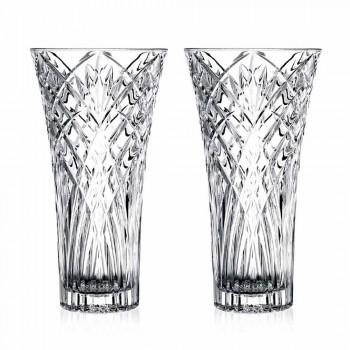 Vaso di Design Vintage in Cristallo Ecologico Trasparente 2 Pezzi - Cantabile