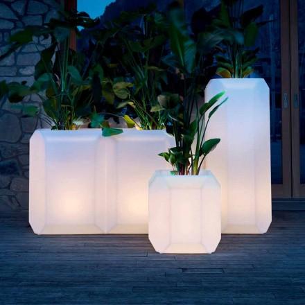 Vaso Luminoso in Plastica per Esterni o Interni, 3 Dimensioni, 2 pezzi - Gem by Myyour
