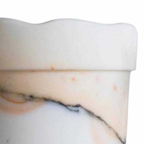 Vaso Moderno in Marmo Paonazzo con Bordo Ondulato Made in Italy 5 Pezzi - Vision