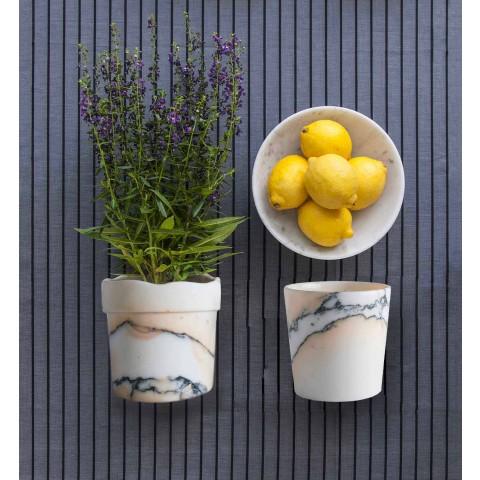 Vaso Stondato di Design in Marmo Paonazzo Made in Italy, 5 Pezzi - Murlino