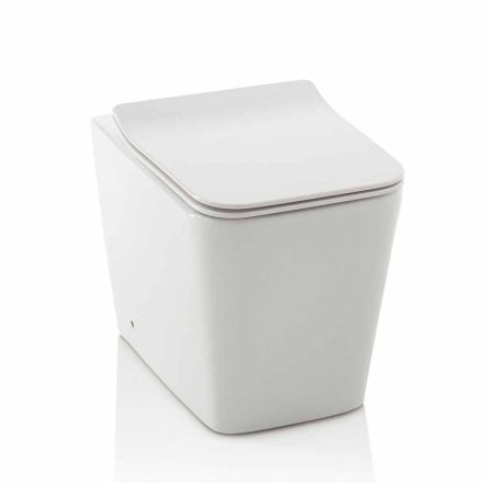Vaso WC a Pavimento in Ceramica Bianca con Coprivaso Soft Close di Design - Enzu
