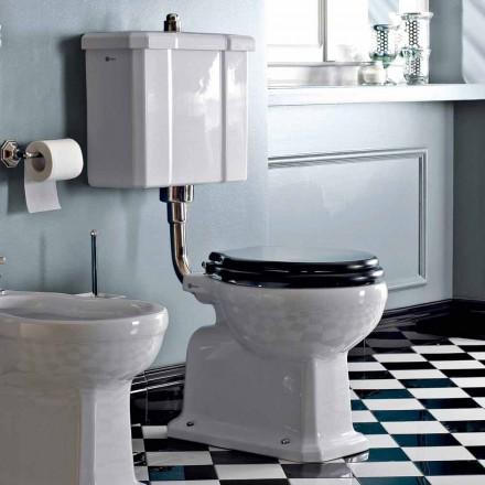 Vaso WC a Terra Cassetta in Ceramica e Sedile Nero Vintage Made in Italy – Marwa