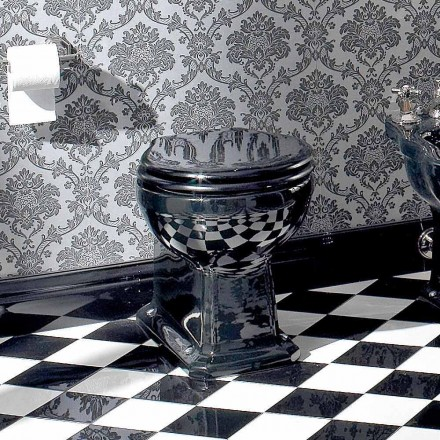 Vaso Wc da Terra Vintage in Ceramica Nera con Sedile, Made in Italy - Marwa