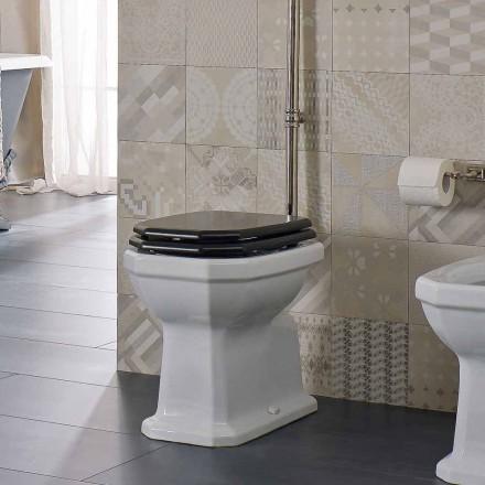 Vaso WC da Terra in Ceramica Bianca Sedile Nero Vintage Made in Italy - Nausica