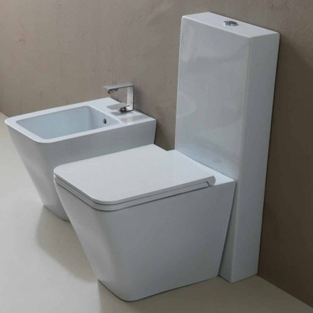 Vaso WC in ceramica bianca design moderno Sun Square, made in Italy