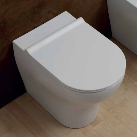 Vaso WC in ceramica bianca Star 54x35cm made in Italy, design moderno