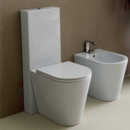 Vaso WC in ceramica bianco moderno Sun Round 57x37 cm made in Italy