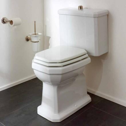 Vaso WC Monoblocco in Ceramica Bianca Vintage, Made in Italy - Nausica