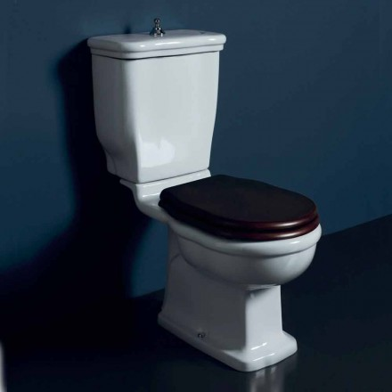 Vaso WC monoblocco in ceramica bianca Style 72x36 cm, made in Italy