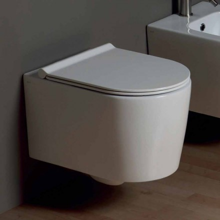Vaso WC sospeso in ceramica design moderno Shine Square, made in Italy