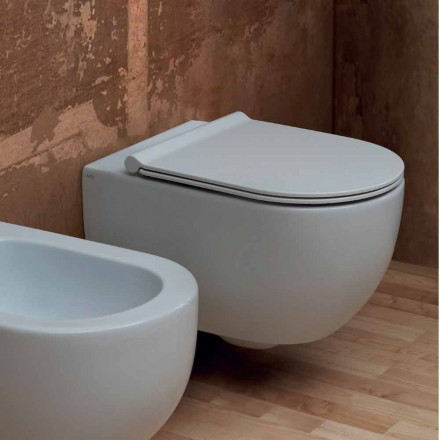 Vaso WC sospeso in ceramica design moderno Star 55x35 made in Italy
