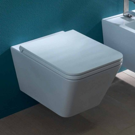 Vaso WC sospeso in ceramica, design moderno, Sun Square made in Italy