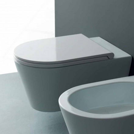 Vaso WC sospeso in ceramica moderno Sun Round 57x37 cm, made in Italy