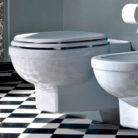 Vaso Wc Sospeso Stile Vintage in Ceramica Bianca Made in Italy – Marwa