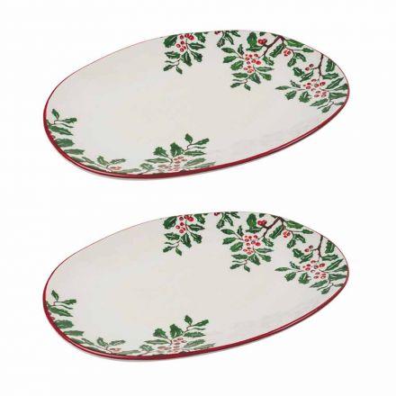 Vassoio Natalizio o Piatto da Portata Ovale in Porcellana 2 Pezzi - Pungitopo