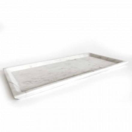 Vassoio Rettangolare in Marmo Bianco di Carrara Levigato Made in Italy - Alga