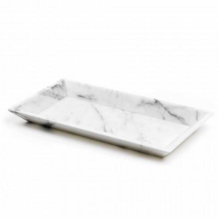 Vassoio Rettangolare in Marmo Bianco di Carrara Made in Italy - Vassili