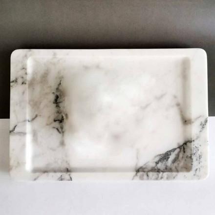Vassoio Rettangolare in Marmo Bianco Venato Moderno Made in Italy - Stora