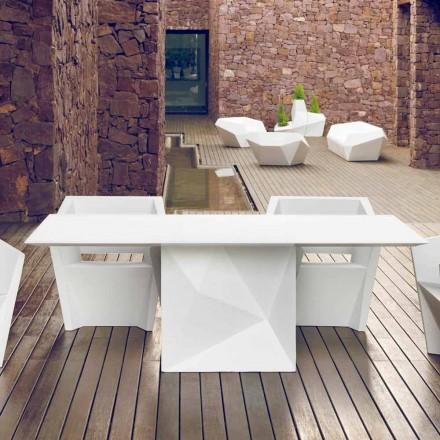 Vondom Faz tavolo da giardino laccato bianco L200xP100cm di design