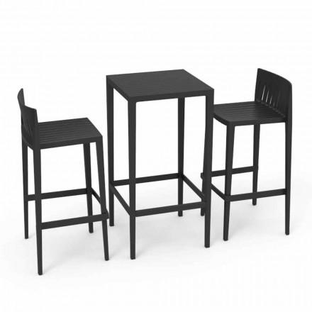 Vondom Spritz set mobili da giardino tavolo e due sgabelli neri