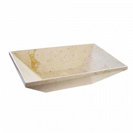 Wok lavabo da appoggio in marmo di design, forma trapezoidale